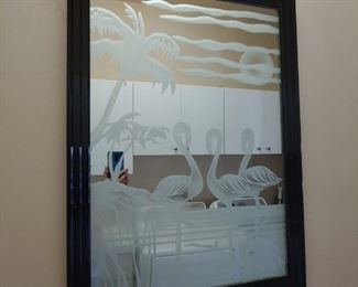 Frosted Flamingo Artwork Mirror
