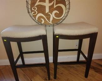 Cream Upholstered Bar Stools with Studs & Metal Serving Tray with Wood Bottom