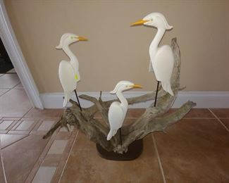 Triple White Heron piece by Lazarus Paskalitis, Driftwood from Homosassa, FL.  One of a kind Art