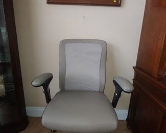 Mesh Back, Leather Office Chair & Artwork