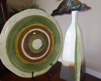 Large Ceramic Plate/Bowl & Vase.  Copper Wave Artwork in the Background