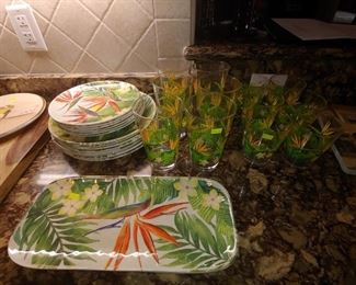 Plastic Pool Entertaining Dishes, Platter & 2 Sizes of Glasses