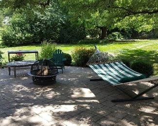 Teak patio tables, Firepit, Hammock