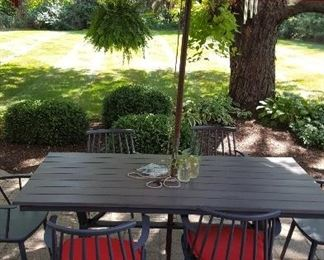 Crate & Barrel Patio Set, Table w/ 6 chairs & Cushions, Umbrella, metal