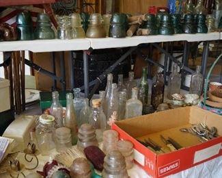 vintage bottles, coke bottles, insulators,