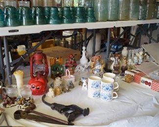 insulators, old canning jars, figurines