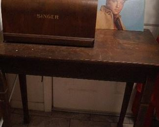 sewing machine, small table, Elvis Record