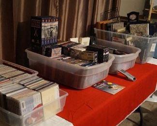 CDs, DVDs, cassettes, Vhs