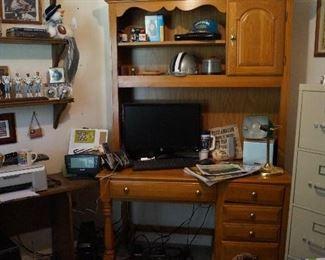 desk, file cabinet, Dallas Cowboy collectibles