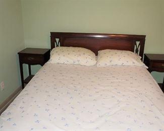 Queen bed and pair of nightstands