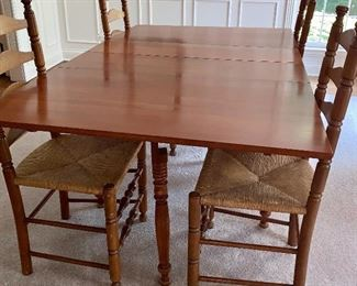 Wonderful Amish Square Thrasher Table and 6 Ladder Back Chairs w/ rush seats
