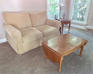 Plush Love seat and Oak, Queen Anne, Drop-Leaf Coffee Table