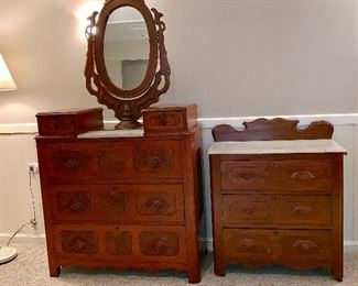 Vintage marble top dresser w/mirror and marble top small dresser