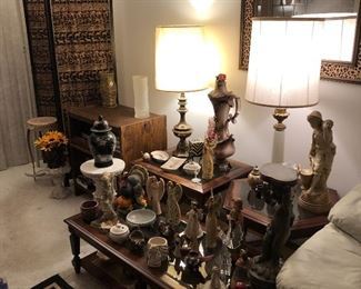 statues,  lamps, end tables, room divider, tv cart, accent pieces