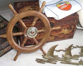 Vintage travel bag, ship wheel, trunks & sailboat decor