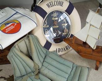 Life jacket, life preserver nautical knots, vintage model boat