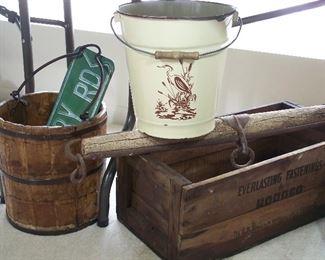 Rustic bucket, advertising crate, yoke, graniteware pail