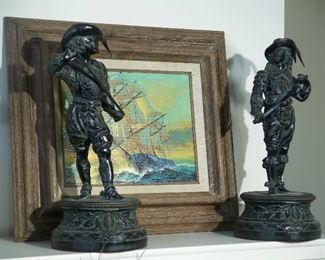 Carved stone statues, ship oil painting