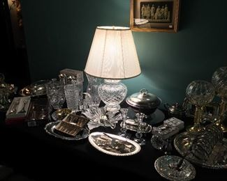Waterford lamp, lots of crystal and silver-plate items.