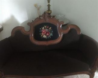Sofa, flower needle  point done in the 1930s
