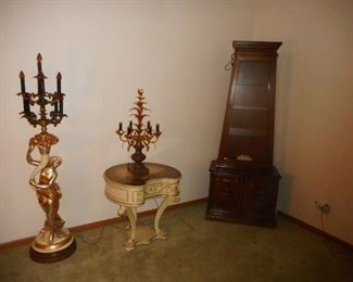 "Drexel Furniture Hand Carved ""Hollywood Regency"" White Smoke Glass Table Top Occasional Table, Curio Lighted in Corner"