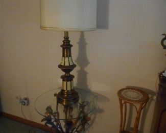 Gold Gilt Tole Occasional Table with Glass Top. Gold White Ceramic Table Lamp