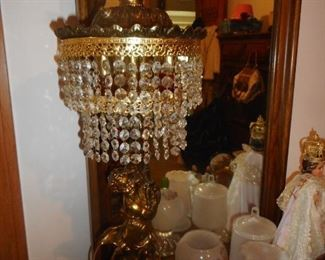 Gold GIlt Ornate PAIR CUPID Prisms Table Lamps