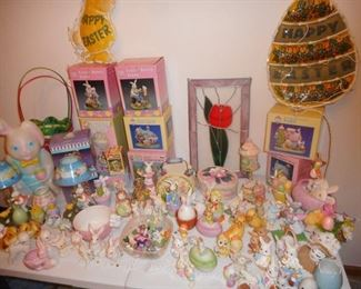 EASTER in the DINING ROOM...Lefton Bunnies, Enesco, Easter Decor