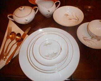 "Vintage Fine China, ""Festival"" 8 Piece Place Setting, 12 Sets. Vintage Dilyte Goldware"