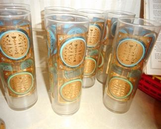 Mid Century Teal Gold High Ball Glasses (6)