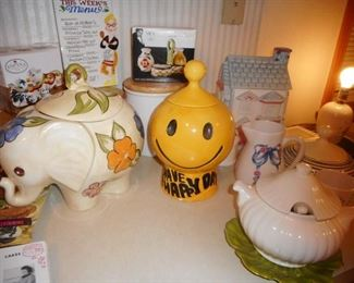 Kitchen..Elephant Cookie Jar, Have a Nice day Smiley Face Cookie Jar