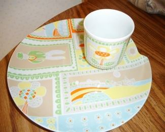 Mid Century Dessert Plates/Cups. Little Farm