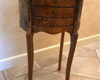 Burl Wood Three Drawer Decorative Side Table