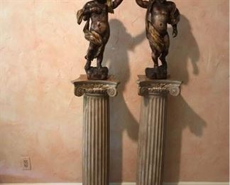 Pair of Antique Carved Cherubs with Ionic Column Stands