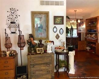 Lots of Tuscan and Italian decor; wood 2 drawer filing cabinet