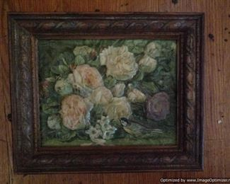 Interesting raised floral artwork