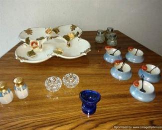 Vintage porcelain salt cellars with sterling silver spoons