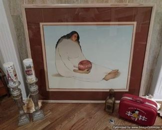 R.C. Gorman signed limited edition stone lithograph 38/200 Paloma 1986, Going to Grandmas vintage child's suitcase