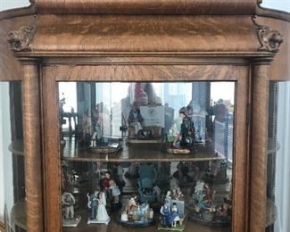 Claw foot rounded glass china cabinet (notice Lion Heads at the top -this picture). Appraised at $3,000, make best offer.