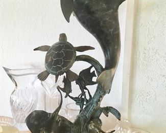 Sealife bronze and marble sculpture