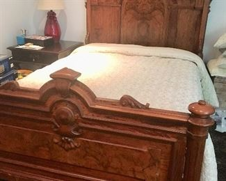 Full-size antique bed