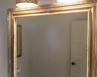 Mirror & overhead wall-mount custom made pottery light fixtures (over 15 available)