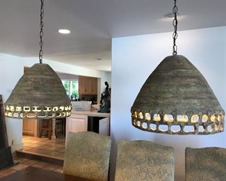 Custom made (Donald Schnell) pottery light fixtures