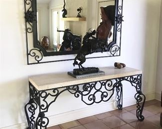Wrought iron/stone top console table & matching iron mirror