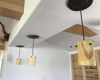 slag glass pendant lights (5 available)