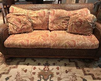 Woven rattan sofa