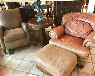 Leather chair/ottoman (on right) by Whittemore-Sherrill