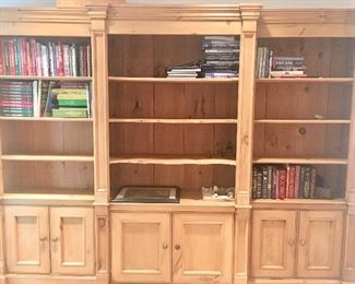 """8'11"""" wide by 6'10"""" tall by 18"""" deep pine bookcase (in 3 sections)"""