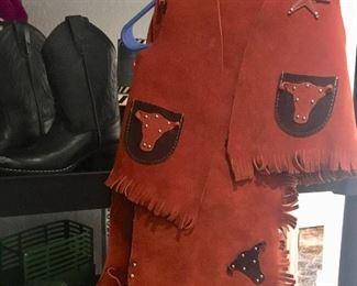 Child-size suede vest & chaps
