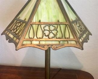 Antique slag-glass brass lamp